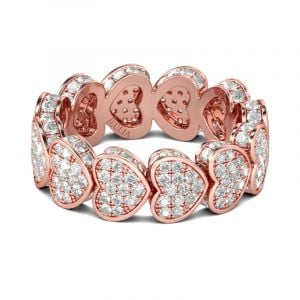 Jeulia Rose Gold Tone Heart Sterling Silver Women's Band