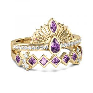 Jeulia  Vintage Crown Sterling Silver Ring