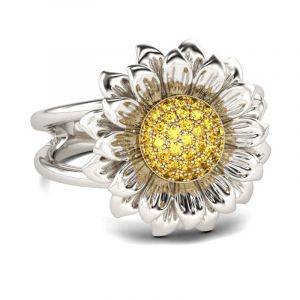 Jeulia Sunflower Sterling Silver  Ring
