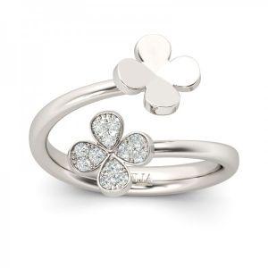 Jeulia Four Leaf Clover Design Sterling Silver Ring