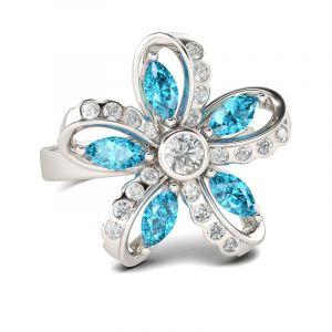 Jeulia  Flower Design Sterling Silver Ring
