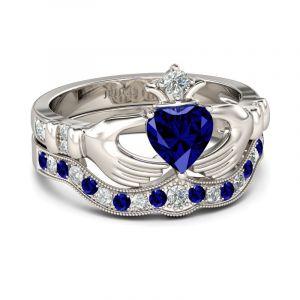 Jeulia Crown Heart Cut Claddagh Ring Set