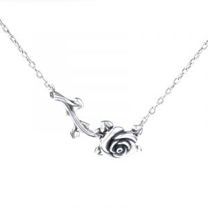 Jeulia Heart Leaves Rose Branch Necklace
