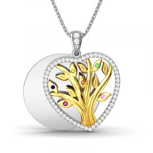 Jeulia Circle Of Life Layering Heart-Shaped Necklace