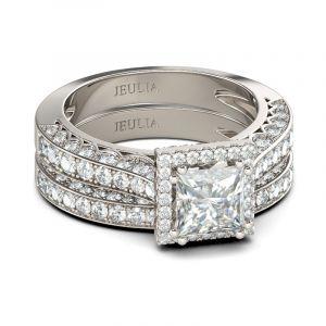Jeulia Halo Princess Cut Sterling Silver Ring Set