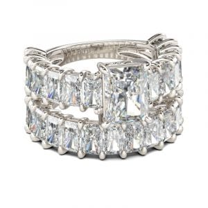 Jeulia Classic Radiant Cut Sterling Silver Ring Set