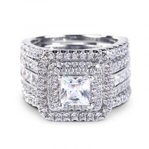 Jeulia Three Halo Princess Cut Sterling Silver Enhancer Ring Set