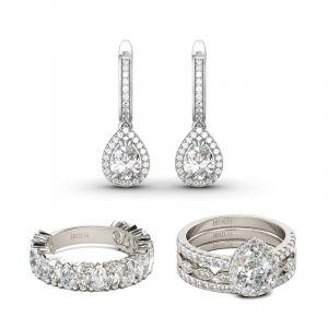 Jeulia Classic Pear Cut Sterling Silver Jewelry Set