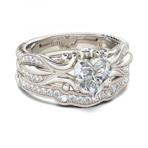 Jeulia Vintage Milgrain Heart Cut Sterling Silver Ring Set