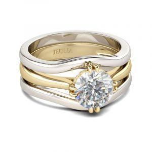 Jeulia Polished Band Round Cut Sterling Silver Ring Set