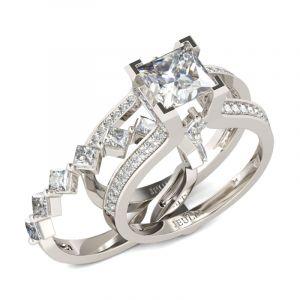 Jeulia Geometrical Princess Cut Sterling Silver Ring Set
