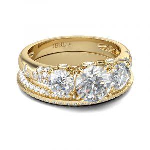 Jeulia Gold Tone Three Stone Round Cut Sterling Silver Ring Set