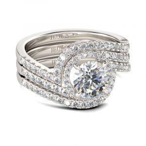 Jeulia 3PC Halo Round Cut Sterling Silver Ring Set