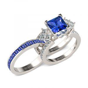 Jeulia Unique Princess Cut Sterling Silver Ring Set
