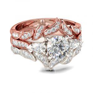 Jeulia Three Stone Leaf Design Round Cut Sterling Silver Ring Set