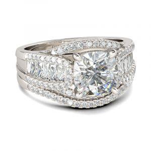 Jeulia Bridge Cushion Cut Sterling Silver Ring Set