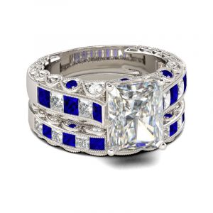 Jeulia Art Deco Radiant Cut Sterling Silver Ring Set