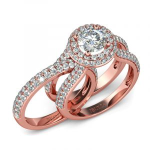 Jeulia Rose Gold Tone Halo Round Cut Sterling Silver Ring Set