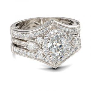 Jeulia Milgrain Halo Oval Cut Sterling Silver 3PC Ring Set