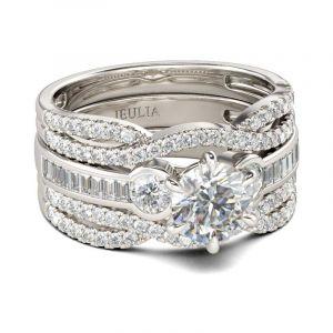 Jeulia Classic Three Stone Round Cut Sterling Silver Ring Set