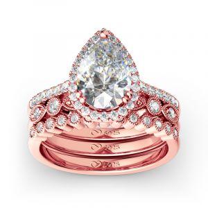 Jeulia 3PC Halo Pear Cut Sterling Silver Ring Set