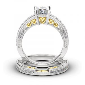 Jeulia Vintage Princess Cut Sterling Silver Ring Set