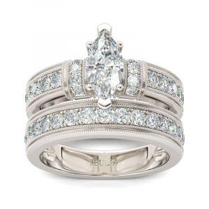 Jeulia Art Deco Milgrain Marquise Cut Sterling Silver Ring Set