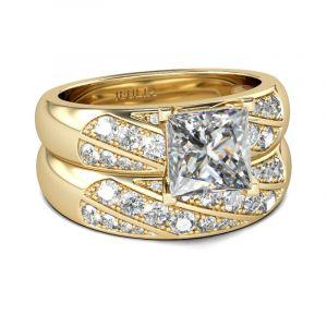 Jeulia Diagonal Princess Cut Sterling Silver Ring Set