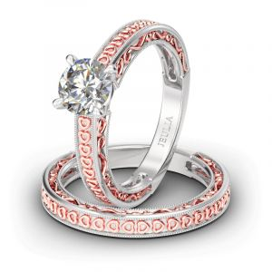 Jeulia Heart Design Round Cut Sterling Silver Ring Set