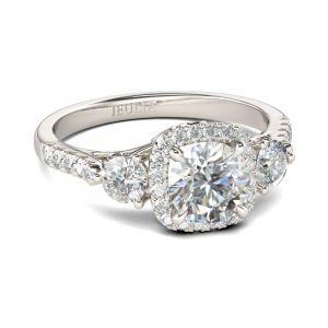 Jeulia Three Stone Halo Round Cut Sterling Silver Ring