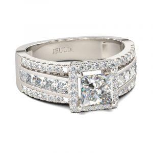 Jeulia Contemporary Design Princess Cut Sterling Silver Ring