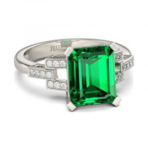 Jeulia Art Deco Emerald Cut Sterling Silver Ring