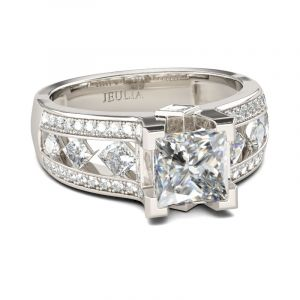 Jeulia Classic Princess Cut Sterling Silver Ring