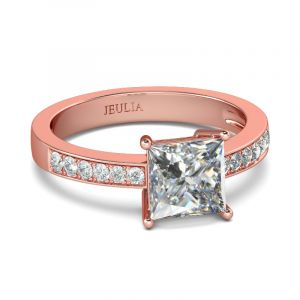 Jeulia Rose Gold Tone Princess Cut Sterling Silver Ring