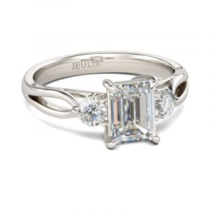 Jeulia Three Stone Split Shank Emerald Cut Sterling Silver Ring