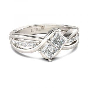 Jeulia Bypass Princess Cut Sterling Silver Ring