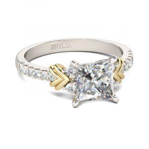 Jeulia Two Tone Heart Design Princess Cut Sterling Silver Ring