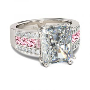 Jeulia Big Center Stone Radiant Cut Sterling Silver Ring