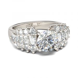Jeulia Art Deco Round Cut Sterling Silver Ring