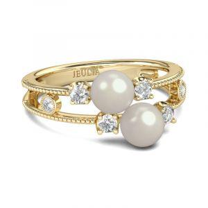 Jeulia Split Shank Faux Pearl Sterling Silver Ring