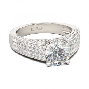 Jeulia Pave Round Cut Sterling Silver Ring