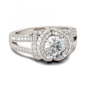 Jeulia Halo Split Shank Round Cut Sterling Silver Ring