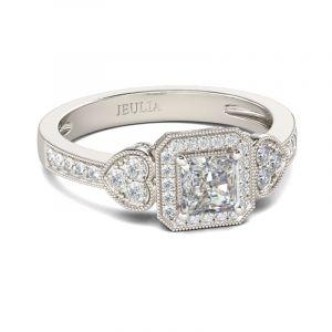 Jeulia Halo Heart Design Princess Cut Sterling Silver Ring