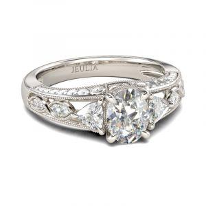 Jeulia Vintage Milgrain Oval Cut Sterling Silver Ring