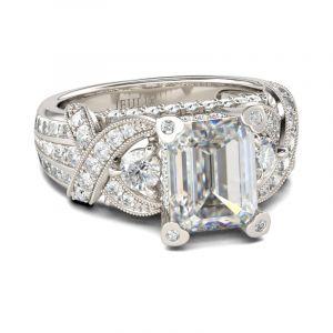 Jeulia Emerald Cut Knot Sterling Silver Ring