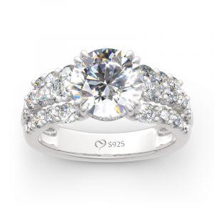 Jeulia Sidestones Round Cut Sterling Silver Ring