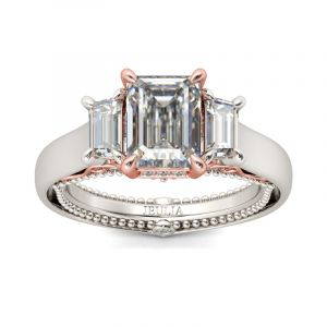 Jeulia Vintage Three Stone Emerald Cut Sterling Silver Ring
