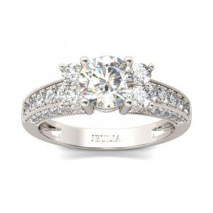 Jeulia Vintage Milgrain Round Cut Sterling Silver Cluster Ring