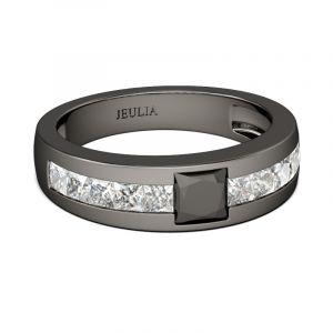 Jeulia Black Tone Cool Princess Cut Sterling Silver Men's Band