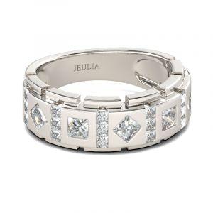 Jeulia Princess Cut Sterling Silver Men's Band